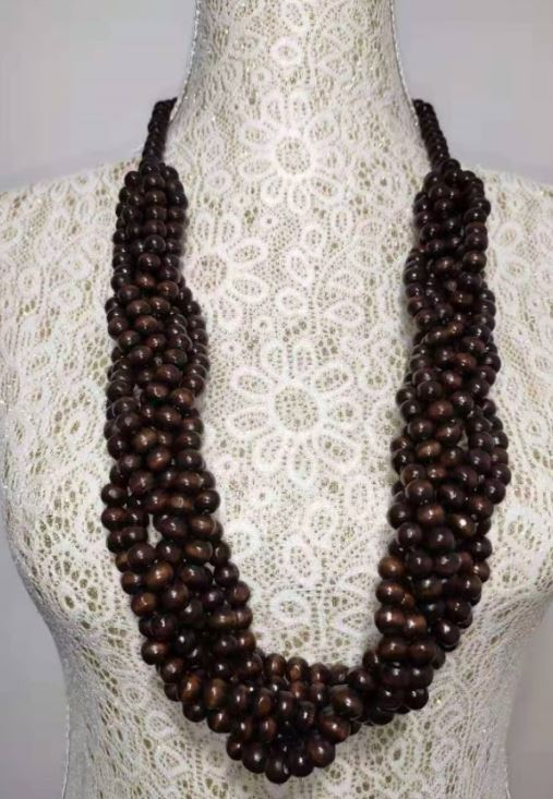 N484 Brown Multi Strand Bead Necklace with FREE Earrings