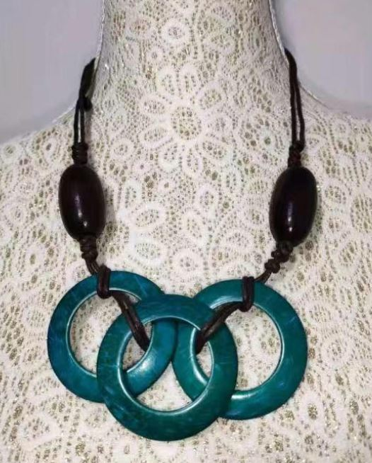 N1818 Brown Turquoise Triple Ring Wooden Necklace with FREE Earrings