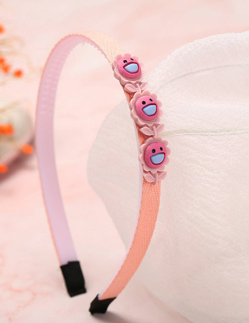 H702 Pink Flowers Fabric Covered Head Band