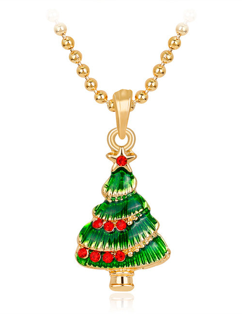 Z140 Gold Christmas Tree with Rhinestones Necklace with FREE EARRINGS