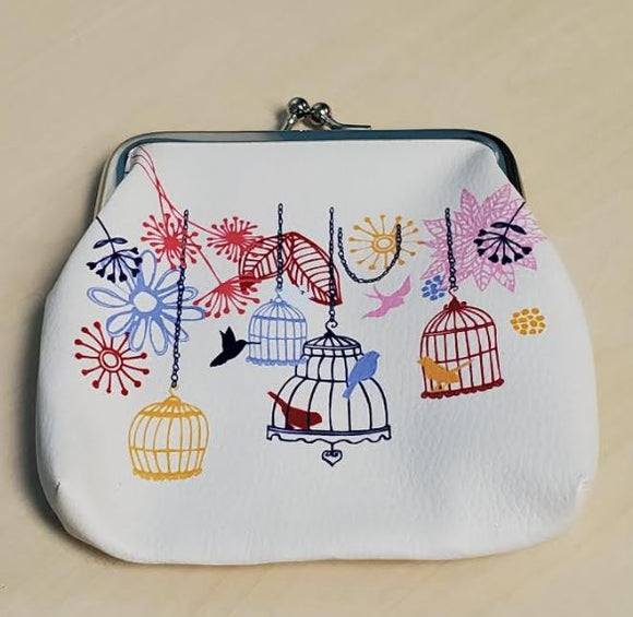 G164 White Leather Bird Cage Floral Clasp Coin Purse