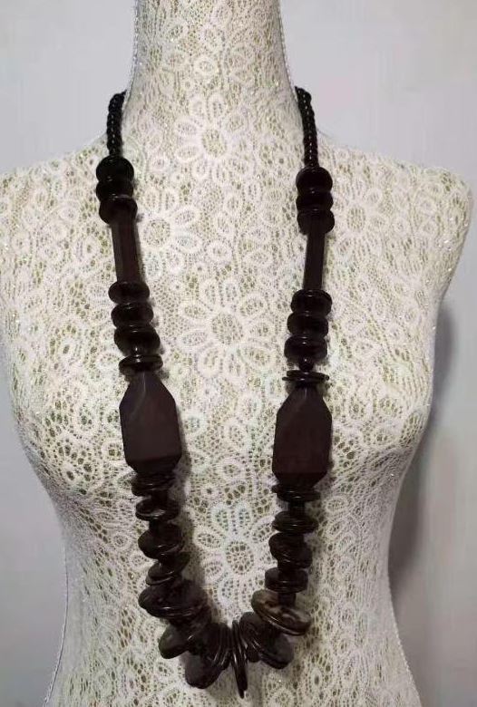 N1376 Brown Irregular Shape Wooden Necklace with FREE Earrings