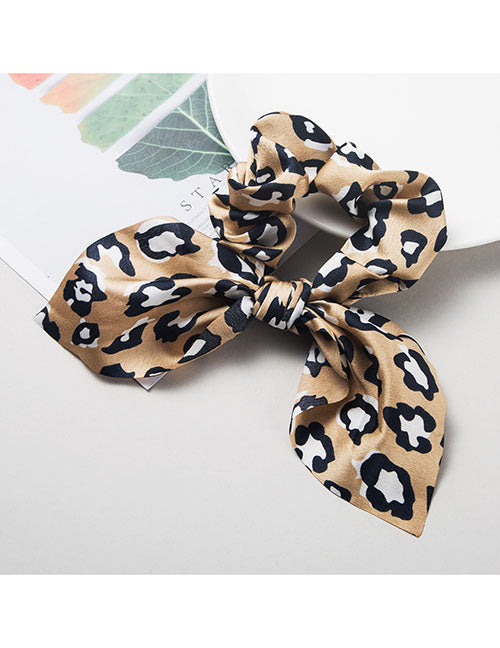 H446 Light Brown Leopard Hair Scrunchie with Bow