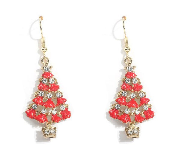 Z126 Gold Christmas Tree with Rhinestones Earrings