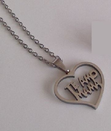 N893 Silver Te Amo Mama Heart Necklace with FREE Earrings