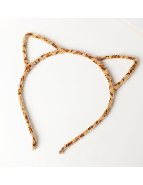 H708 Light Brown Leopard Print Cat Ears Head Band