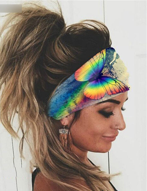 H544 Tye Dye Rainbow Butterfly Wide Brimmed Head Band (Can Also Be Worn as a Mask)