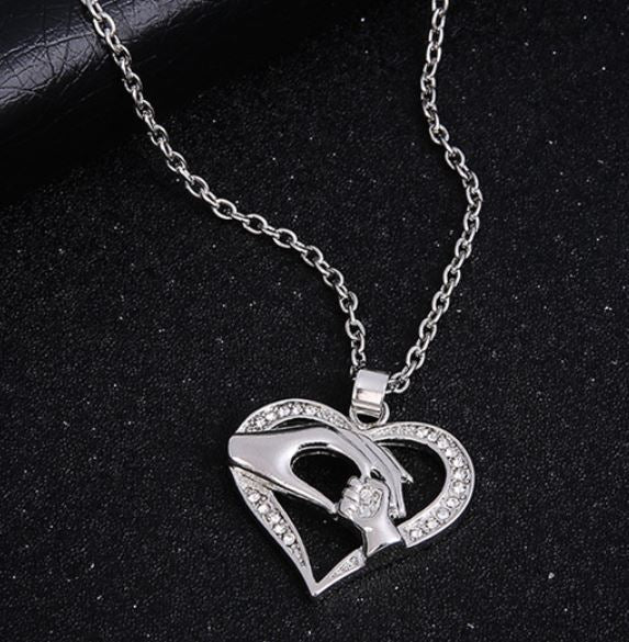 N63 Silver Mom & Baby Holding Hands Rhinestone Heart Necklace with FREE Earrings