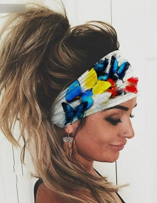 H542 White Colorful Butterflies Wide Brimmed Head Band (Can Also Be Worn as a Mask)