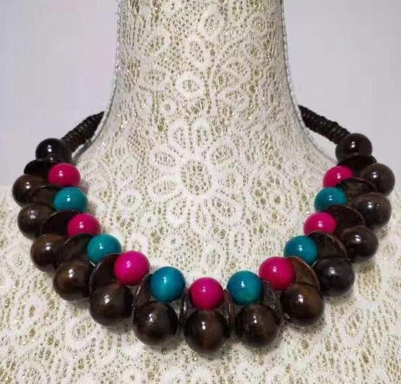 N1207 Brown Hot Pink & Turquoise Double Row Wooden Necklace with FREE Earrings