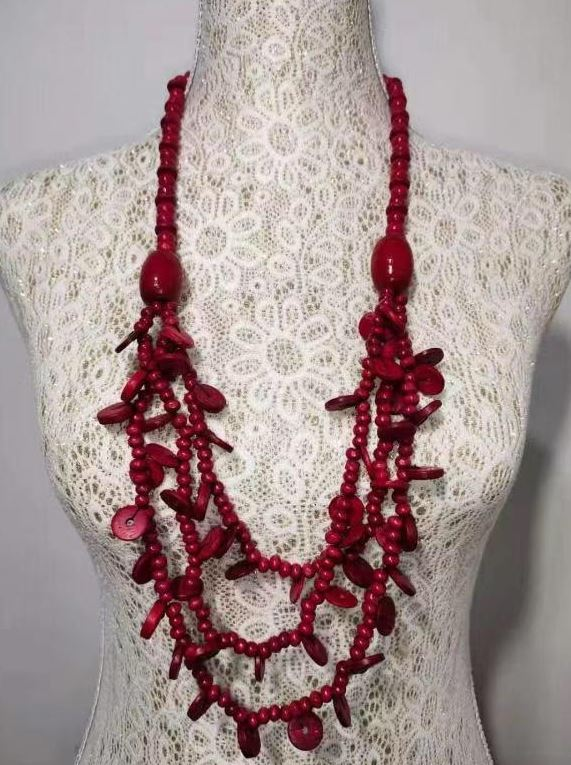 N1378 Red Layered Wooden Necklace with FREE Earrings
