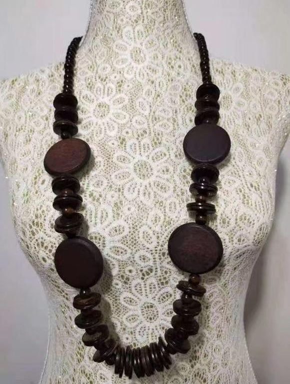 N1185 Brown Wooden Necklace with FREE Earrings