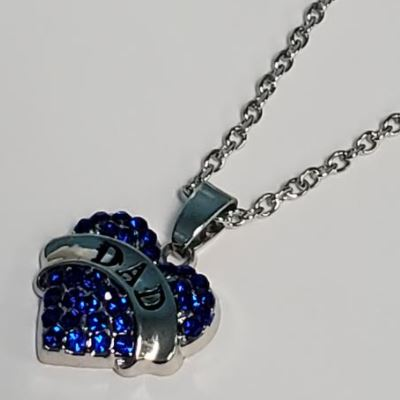 N496 Silver Blue Rhinestone Heart Dad Necklace with FREE Earrings