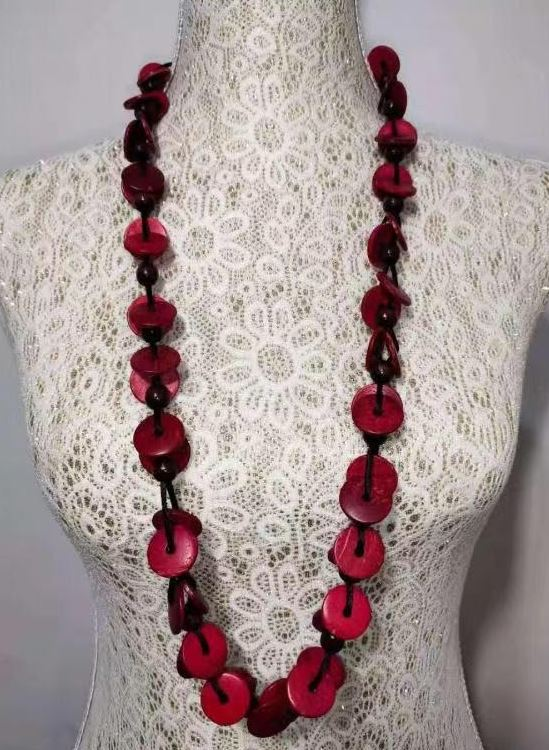N491 Red Round Wooden Disks Necklace with FREE Earrings