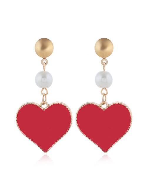 E1398 Gold Red Baked Enamel Heart with Pearl Earrings