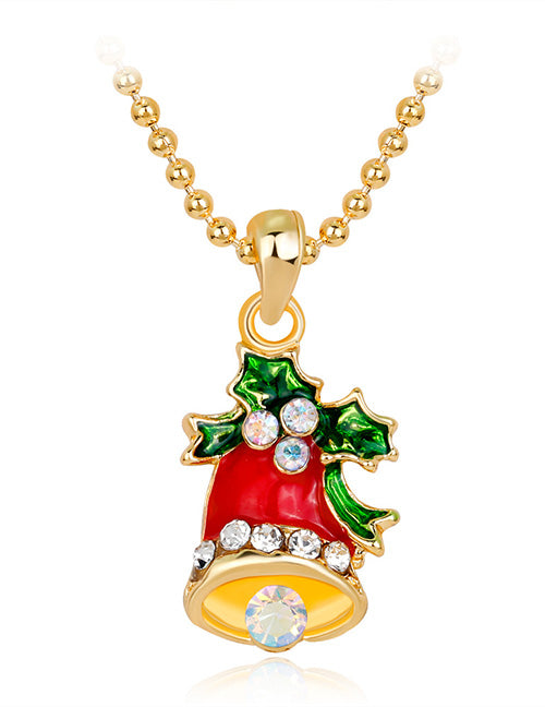 Z139 Gold Christmas Bell with Holly Necklace with FREE EARRINGS