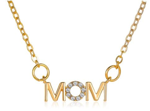 N1318 Gold Dainty Mom with Rhinestones Necklace with FREE Earrings