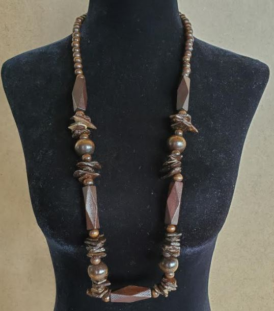 N976 Brown Geometric Wooden Bead Necklace with FREE Earrings