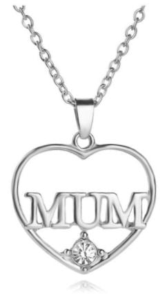 N1582 Silver With Crystal Gem Mum Necklace with FREE Earrings