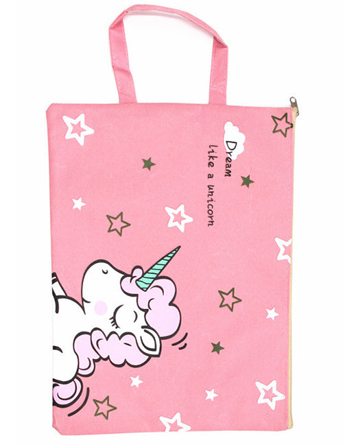 G102 Pink Unicorn Large Canvas Storage Bag