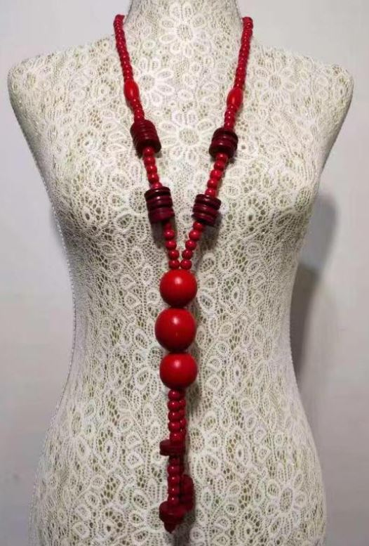 N1429 Red Triple Ball Wooden Necklace with FREE Earrings