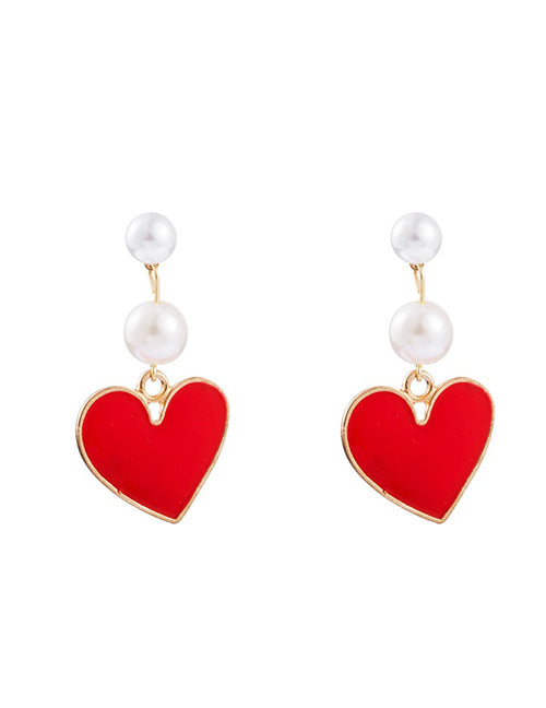 E1454 Gold Red Heart with Pearls Earrings