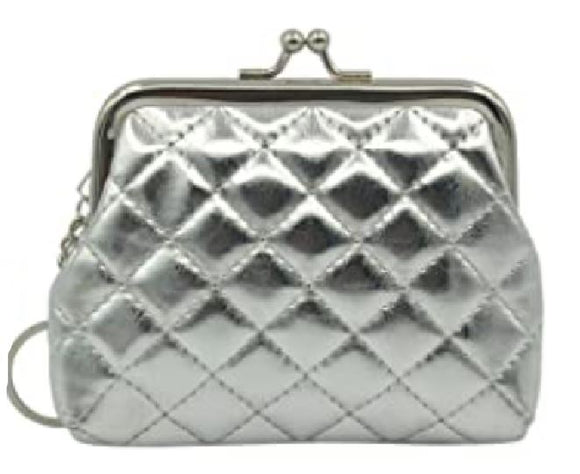 G131 Silver Quilted Clasp Coin Purse