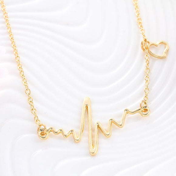 N1403 Gold Heartbeat Pulse Necklace with FREE Earrings