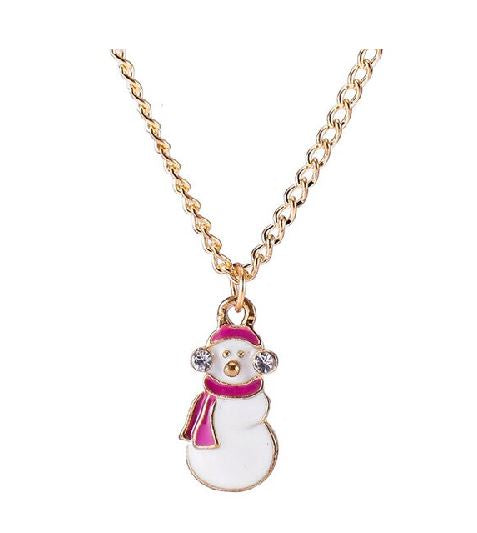 Z137 Gold Snowman Necklace with FREE EARRINGS