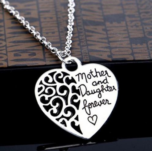 N980 Silver Mother & Daughter Forever Necklace with FREE Earrings