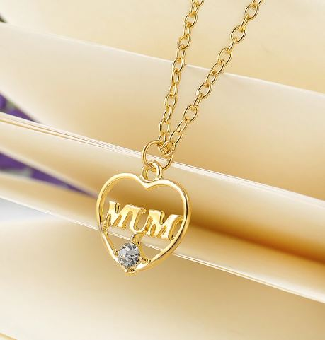 N979 Gold With Crystal Gem Mum Necklace with FREE Earrings