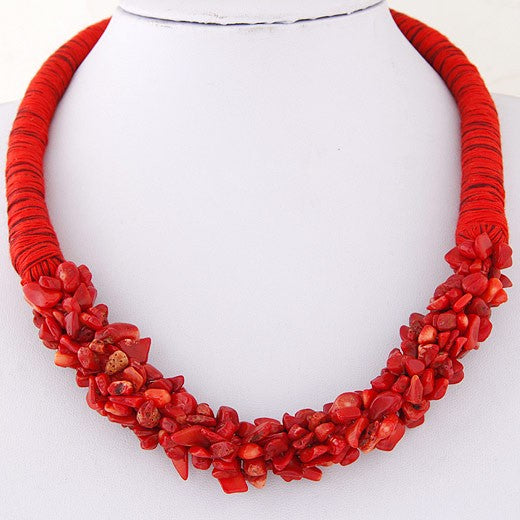 N798 Red Rope & Natural Stone Necklace With FREE Earrings