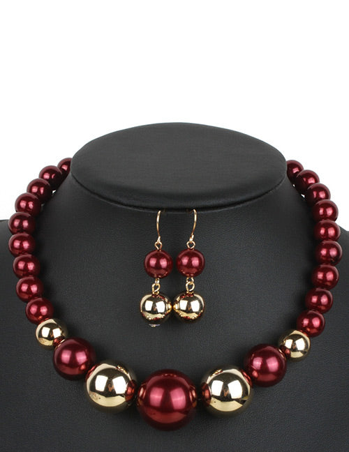 N324 Burgundy & Gold Pearl Necklace with FREE Earrings