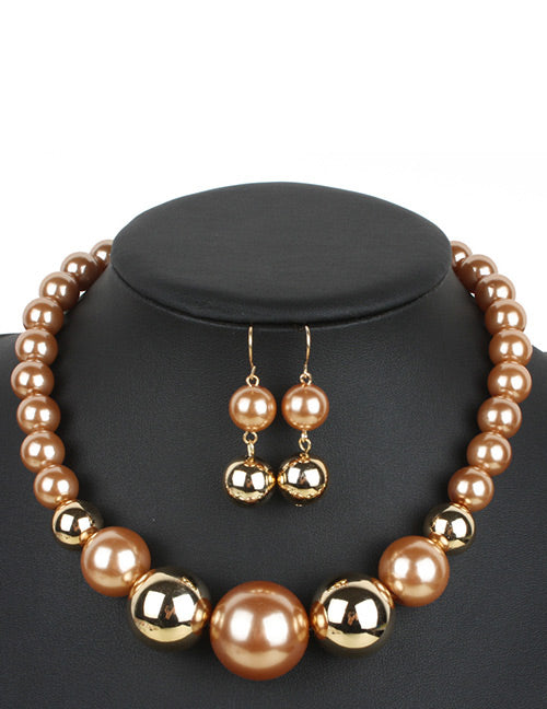 N325 Coffee & Gold Pearl Necklace with FREE Earrings