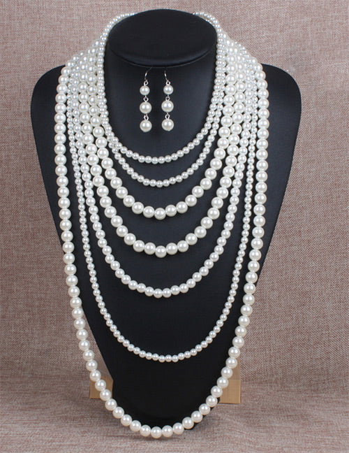 N554 Multi Layer Pearl Necklace with FREE Earrings
