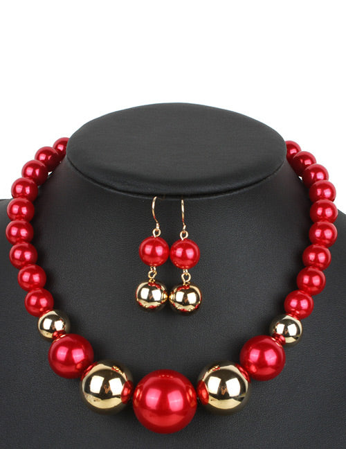N22  Large Red & Gold Pearl Necklace with FREE Earrings - Iris Fashion Jewelry