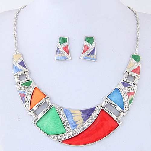 N04 Trendy Multi-Color Decorated Necklace With FREE Earrings - Iris Fashion Jewelry