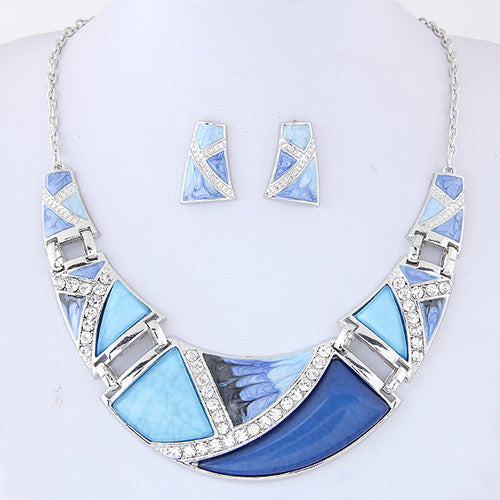 N06 Trendy Blue Color Decorated Necklace With FREE Earrings - Iris Fashion Jewelry