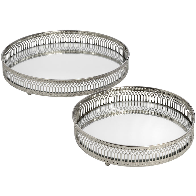 Set Of Two Circular Nickle Trays