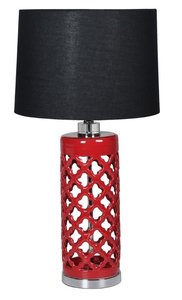 Red Quatrefoil Cutout Ceramic Lamp