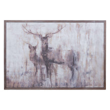 Load image into Gallery viewer, Stags In The Wilderness On Cement Board With Wooden Frame
