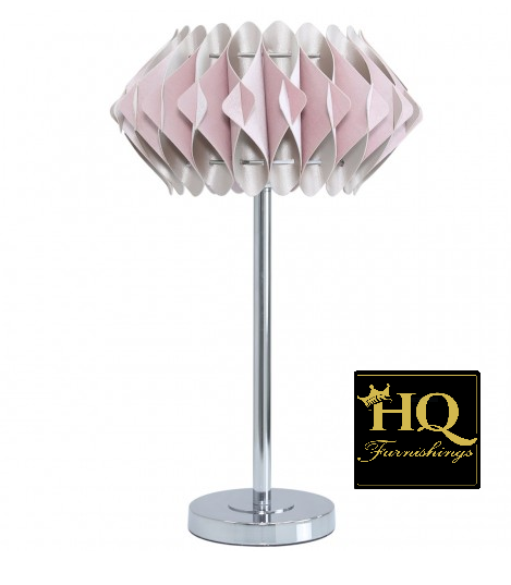 Chrome Metal Table Lamp With A Blush Pink Shade