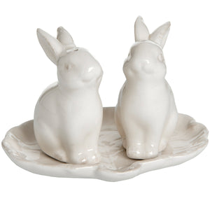 Set of 2 Salt and Pepper Rabbits