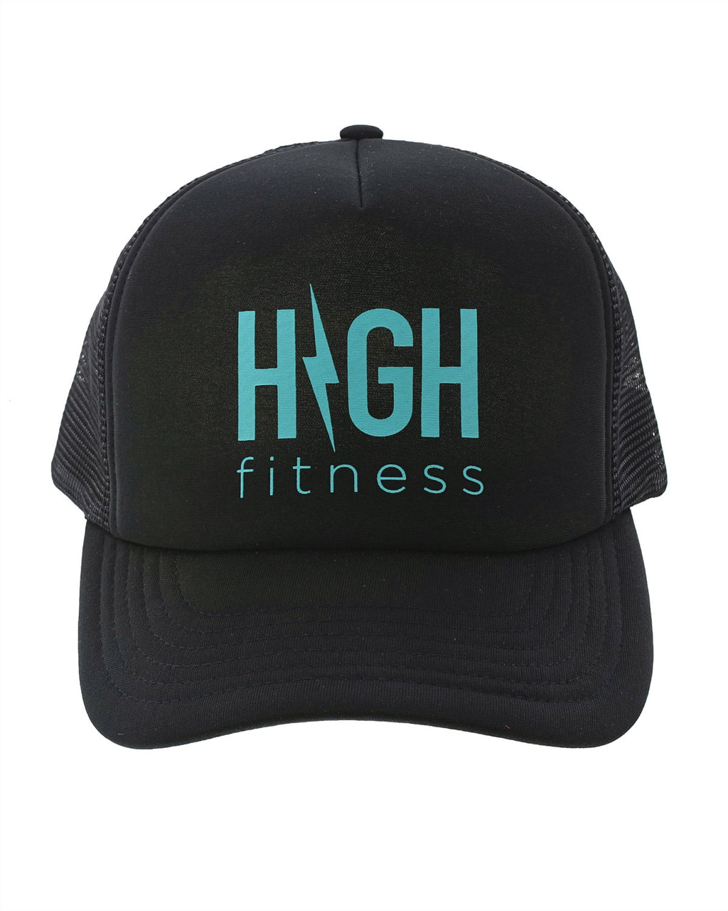 Black Trucker Hat with Teal Logo