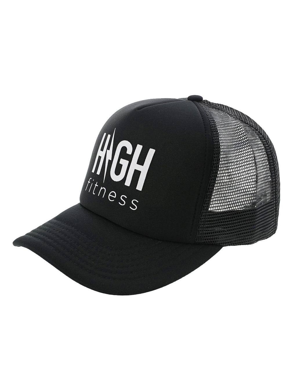 Black Trucker Hat with White Logo