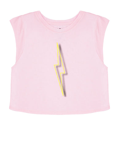 Neon Bolt Crop - Heather White