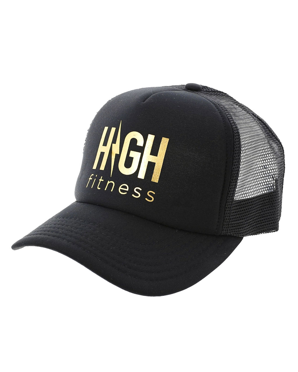 Black Trucker Hat with Gold Logo