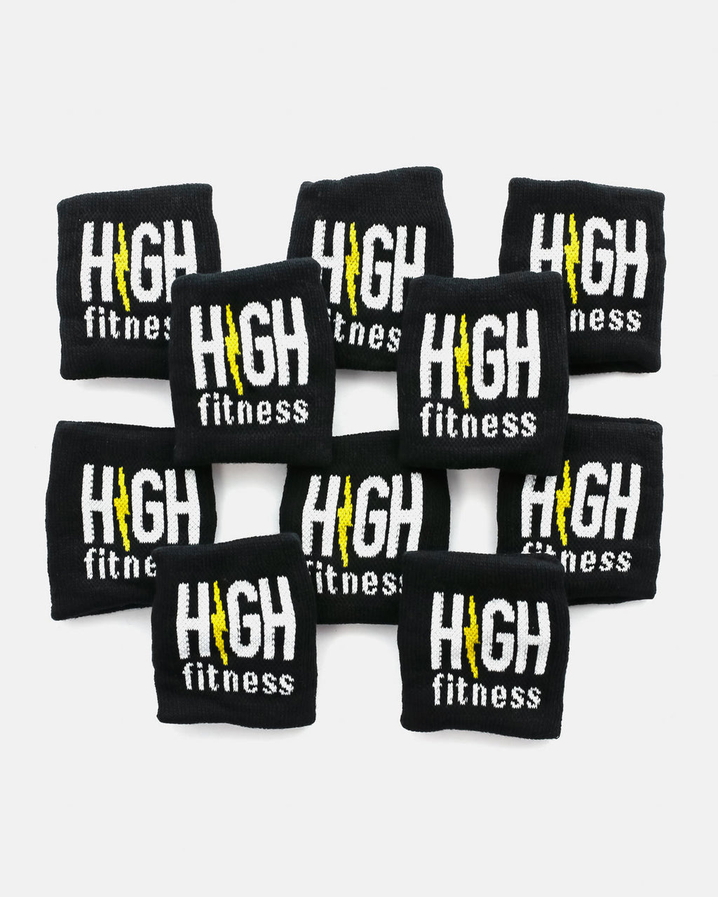 Black High Fitness Sweatbands -10 Pack