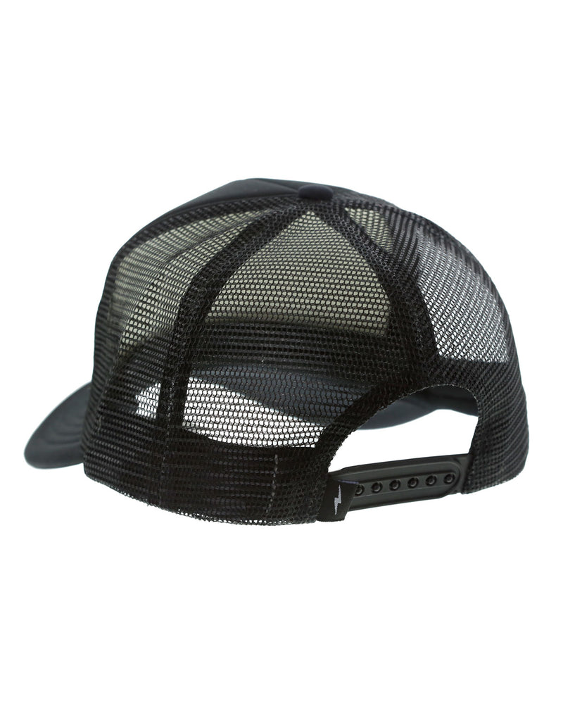 Black Trucker Hat with White Logo - Low Profile