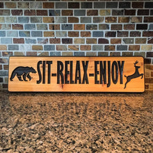 "Load image into Gallery viewer, 6""x22"" Custom Carved Cedar Sign"